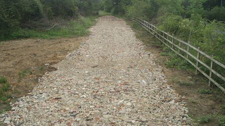 A new access road near Pages Wood, under investigation by Havering Council.