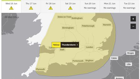 The Met Office forecast is predicting thunderstorms