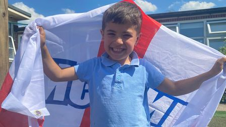 Alper fromSprowston Infant School is celebrating the Euros with his classmates.