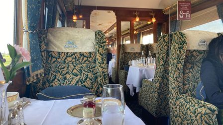 Inside the Alnwick carriage on the Northern Belle.