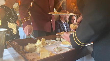 The cheeseboard being served on the Northern Belle.