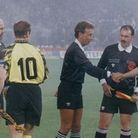 John Blankenstein shakes hands with Roberto Baggio at the start of the 1993 Uefa Cup final
