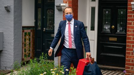 Health Minister Matt Hancock outside his home in north-west London