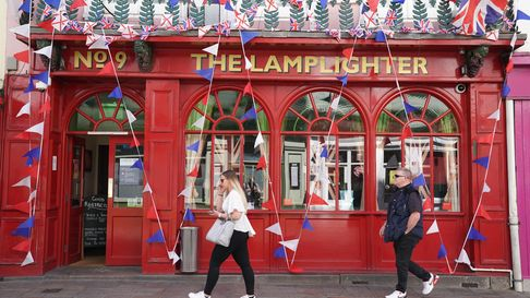 The Lamplighter pub decked out with flags and red, white and blue bunting