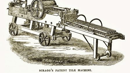 Scragg's tile making machine 1845, from atrade catalogue in 1851.
