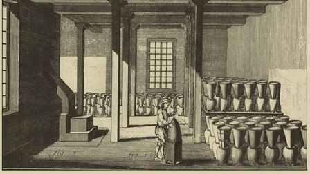 Sugar boiling house, showing clay sugar moulds and urns, from a 1772 encyclopedia.