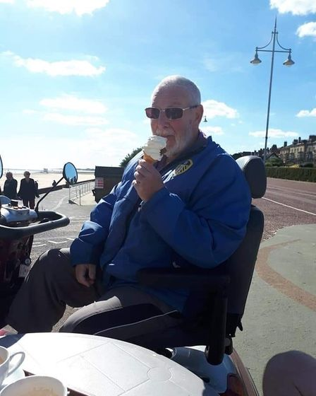 Dick Longley on Lowestoft seafront.