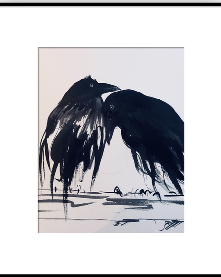 Two ravens, affectionately close