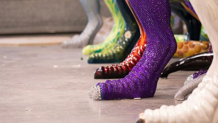 Tantalising glimpse of the feet of the decorated T Rex sculptures on show inNorwich this summer