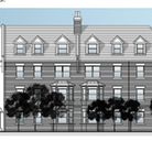 A sketch of what the façade of the proposed Walsworth Road development for the current Hitchin Kwik Fit site may look like