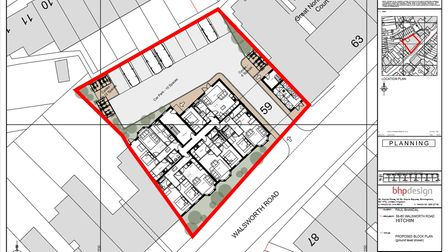 The proposed layout of the Walsworth Road development in Hitchin, which would see 18 apartments built