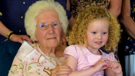 Kit was delighted to see three-year-oldgreat-granddaughter Orla