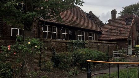 Fire tore through St Catherine's church hall (Picture @parvezahmed80)