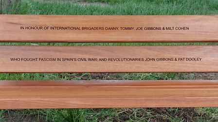 The inscription on the new bench