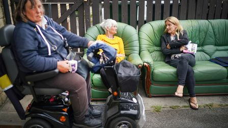 Kim Leadbeater (right), Labour candidate for the Batley and Spen by-election,talks to locals on the campaign trail