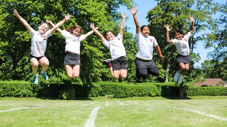 Girls in a physical education lesson at Surrey Cumnor House School