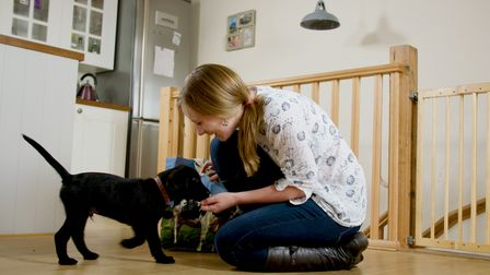 A woman feeds her small black puppy a treat