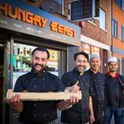 Ash with his Hungry Beast team on Kingsland Road.