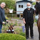 Stansted's Care UK Mountfitchet House residentKevin with Peter Birsan and one of the visitinghorses