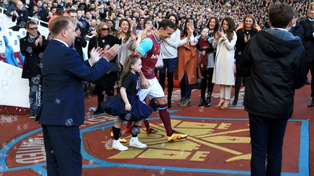 Mark Noble walks out ahead of kick-off before his Testimonial match at Upton Park, London.