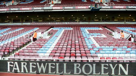 Signage reading 'Farewell Boleyn' seen before a Barclays Premier League match at Upton Park (pic: Ad