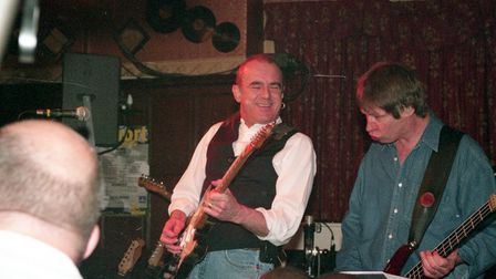 Francis Rossi (lead singer and guitarist) and John Edwards (bass) playing the Railway pub, one of th