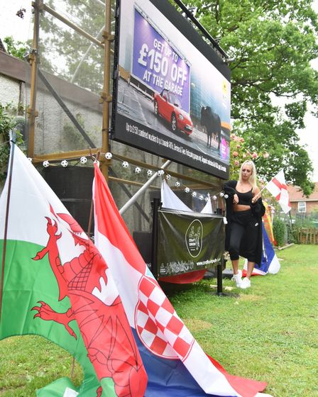 The Boundary pub has installed a huge screen to show the Euro 2020 games. Pub supervisor Kerryann Po
