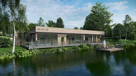 Eco-friendly lakeside spa and infinity pool at Clawford Lakes Resort and Spa in Devon