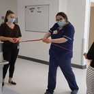 Sister Diana Bernardino, NNUH clinical lead for the DPU, cutting the ribbon to open the new ward.