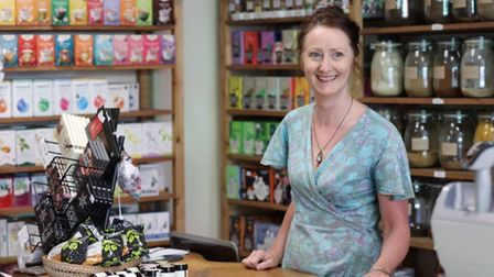 Sally Fisher in the shop