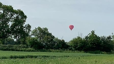 Lesley Dixon took this photograph of the hot air balloon before it landed in a playing field in Buckden.