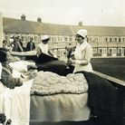 TB patients in beds on the balconies at Papworth in 1932