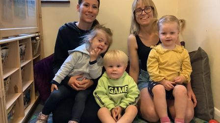 Becky Garratt (back right) with staff and children in theButtons room for ages 2-3 at Little Sprouts nursery in Aylmerton,