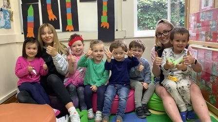 Staff and children in the 'Brussels' room forages three and up at Little Sprouts nursery in Aylmerton,