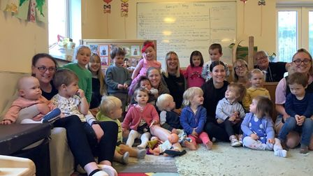 Staff and children at Little Sprouts nursery in Aylmerton, near Sheringham, which has just been rated Good by Ofsted.