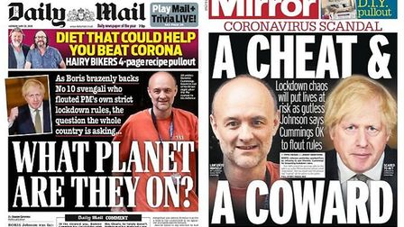 Front pages of the Daily Mail and Daily Mirror both criticise Boris Johnson over his defence of Domi