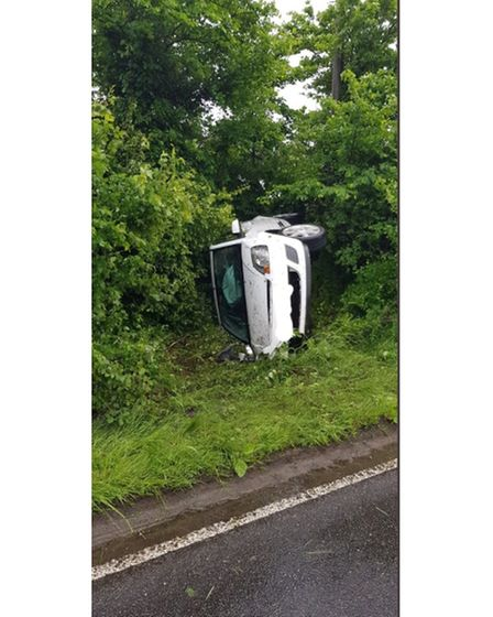 The scene of the crash on the A146 at Barnby.