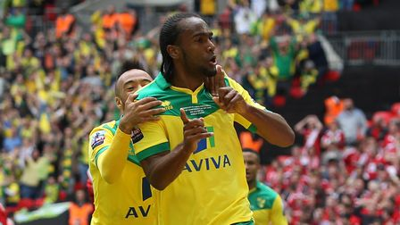 Cameron Jerome of Norwich celebrates scoring his sides 1st goal during the Sky Bet Championship Play