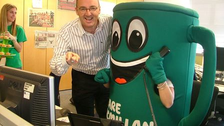 Comet editor Darren Isted with Muggy the Macmillan mascot