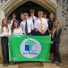 Gresham's pupils with their new Eco-Schools flag.