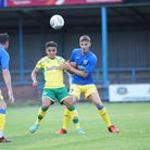 Norwich City right back Max Aarons in action against King's Lynn at The Walks back in 2018