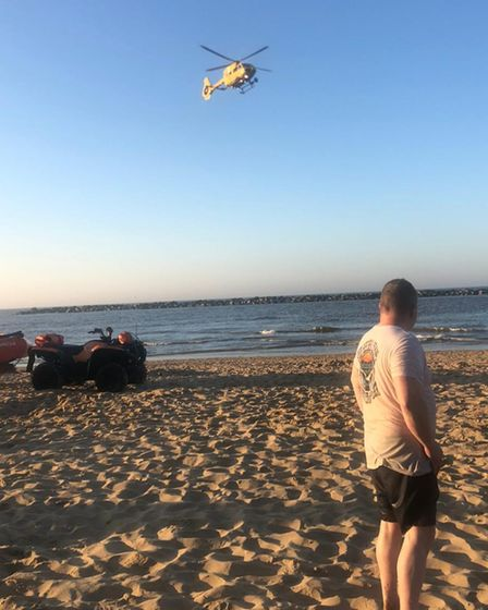 Ian Horne, on the beach at Sea Palling following the rescue on Sunday, June 13.