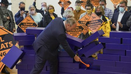 Liberal Democrat leader Ed Davey during a victory rally at Chesham Youth Centre
