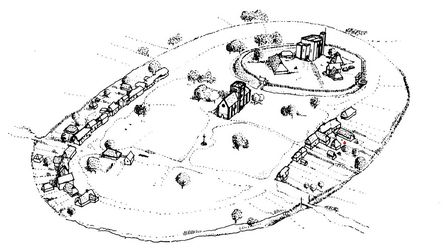 Artist Roger Massey-Ryan's reconstruction of the early medieval town of Saffron Walden.
