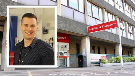 Inset: a smiling man. Background: A&E Department at Addenbroke's Hospital