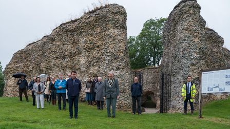 Councillor Arthur Coote, chair of Uttlesford District Council, and guests at Walden Castle