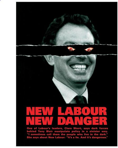 The Conservatives' 1997 'demon eyes' campaign poster featuring Tony Blair and the tagline 'New Labour New Danger'