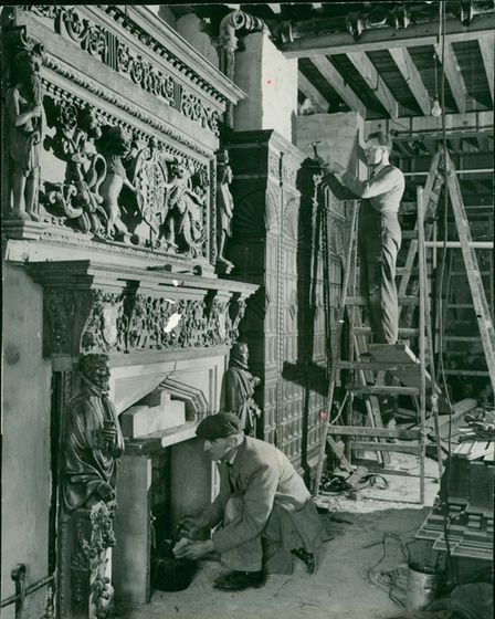 An elaborately carved 16th century fireplace together with oak panelling from Flixton Hall are being