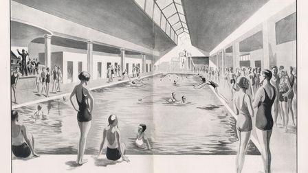 Drawing by Leslie Sayer of the Samson and Hercules swimming pool. Date: 1935.