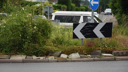 Damage to the busy Heartsease roundabout, where there is a concern for people's safety. Picture: DEN